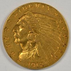 Lovely 1912 US $2.50 Indian Gold Piece