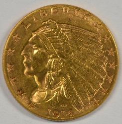 Blazing better date BU 1914-D $2.50 Indian Gold Piece