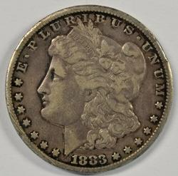 Sharp 1883-CC Morgan Silver Dollar. Key date