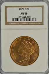 Essentially BU 1876 Ty2 $20 Liberty Gold Piece. NGC AU58