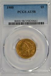 Nice 1900 US $5 Liberty Gold Piece. PCGS AU58