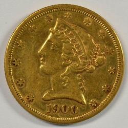 Bright 1900-S US $5 Liberty Gold Piece