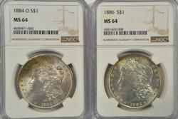 Near Gem BU 1884-O & 1886 Morgan Dollars. NGC MS64's