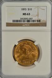 Choice BU 1893 $10 Liberty Gold Piece. NGC MS63