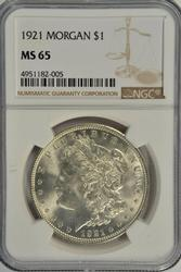 Bright-white Gem BU 1921 Morgan Silver Dollar. NGC MS65