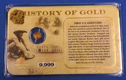 14kt Gold Gold Rush Mini Coin and Display
