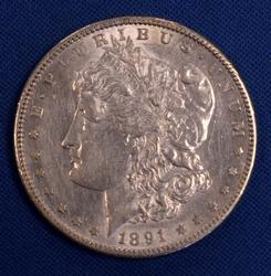 1891-S Nearly Unc Morgan Silver Dollar
