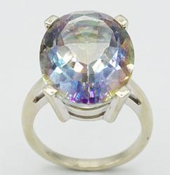 14kt White Gold Mystic Topaz Cocktail Ring, 21.00 CTW!