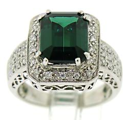 Green Tourmaline and Diamond Pave Halo Ring