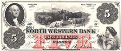 Gem Crisp Exceptional 1861 North Western Bank Of Warren, PA $5 Dollar Note!