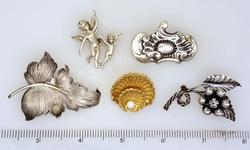 Five Sterling Pins, Pearl, Vermeil, Etc
