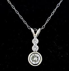 Bezel Set Diamond Trio Pendant Necklace