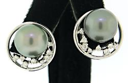 Unique Tahitian Pearl Earrings with Diamond Accents