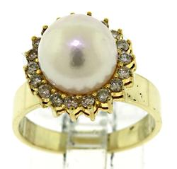 Flashy Pearl and Diamond Halo Ring