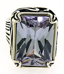 Purple CZ Sterling Silver Ring
