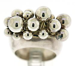 Sterling Silver Beaded Ball Ring
