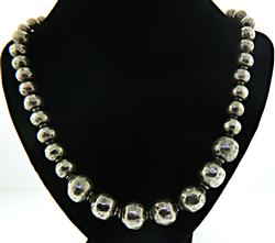 Graduated Hammered Beaded Necklace