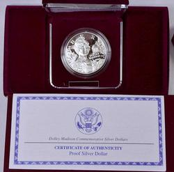 1999-S Proof Dolley Madison Commem Silver $, OGP