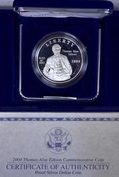 2004 Thomas Edison Proof Commem Silver $, OGP