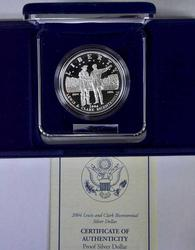 2004 Lewis & Clark Commem Proof Silver $, OGP