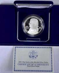 2005 Justice Marshall Proof Commem Silver $, OGP
