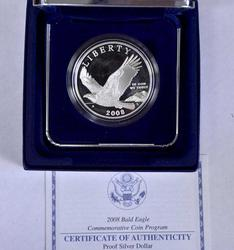 2008 Bald Eagle Proof Commem Silver $, OGP