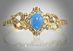Turquoise and Diamond 18K Bangle