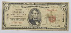 Series 1929 $5 First National Bank of Millerstown PA NB Note