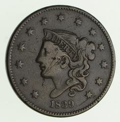 1839/36 Young Head Large Cent - Circulated
