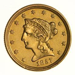 1857 $2.50 Liberty Head Gold Quarter Eagle - Near Uncirculated