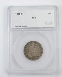 G6 1860-S Seated Liberty Quarter - Graded by SEGS