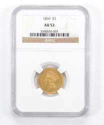 AU53 1860 $3.00 Indian Princess Head Three-Dollar Gold Piece - NGC