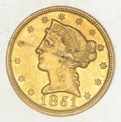 1851-C $5.00 Liberty Head Gold Half Eagle