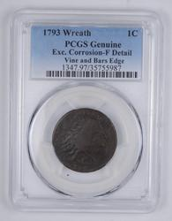 F Detail 1793 Flowing Hair Large Cent - Wreath Vine & Bars Edge - PCGS