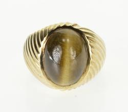 10K Yellow Gold Oval Tiger's Eye Cabochon Grooved Spiral Ring