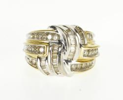 14K Yellow Gold 1.25 Ctw Diamond Channel Encrusted Tiered Knot Ring