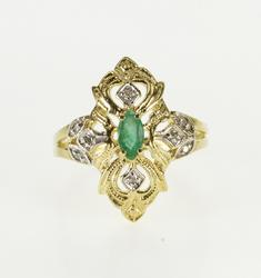 10K Yellow Gold 0.33 Ctw Ornate Emerald Diamond Statement Ring