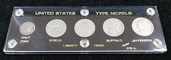 US 5pc Type Nickel Set In Plastic Display