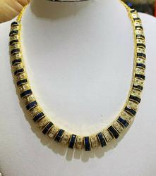 18kt Solid Gold Blue Sapphire & Diamond Necklace