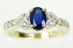 Pretty 14K Sapphire and Diamonds Ring