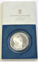Large Panama 1971 20 Balboas Silver Proof 40 000 Mintage