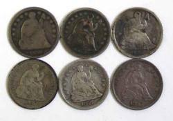 Lot of 6 Pre 1861 Half Dimes