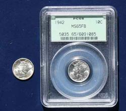 1942 and 1942 D Gem BU Mercury Dimes