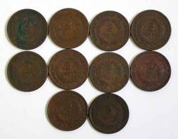 10 Assorted 2 Cent Pieces