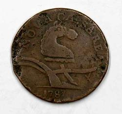 1787 New Jersey Cent With Pronounced Outline to Shield