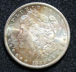 Choice Gem BU Toned 1881 S Morgan Dollar Roll End