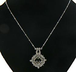 Decorative Diamond Pendant w Floating Diamonds on Chain