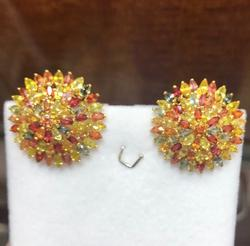 14kt Gold Multi Colored Sapphire Earrings, 13.0 CTW