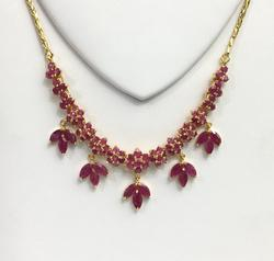 Fancy 15.0 CTW Ruby Gemstone Necklace in Solid 14kt Gold!