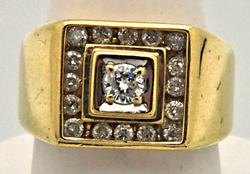 Gents Heavy 14kt Gold 1.50 CARAT Diamond Ring